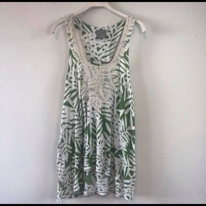 Anthropologie green tank top white lace detail